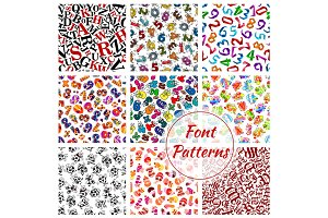 Font patterns, cartoon alphabet letters, numbers