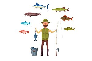 Fisher man, fish catch of isolated vector fishes