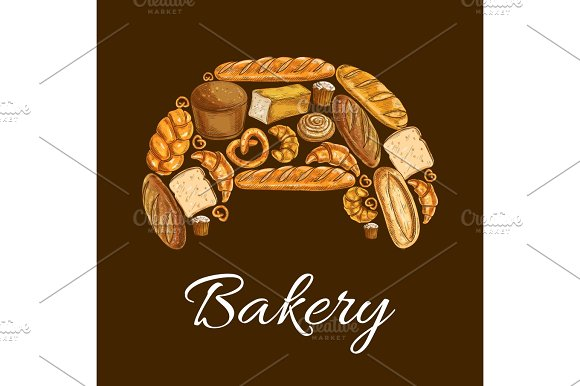 Croissant With Bread And Bun Bakery Poster Design