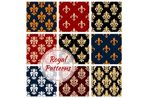 Royal flower patterns set, vector floral ornament