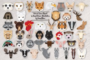 Wild Animal Faces Illustrations