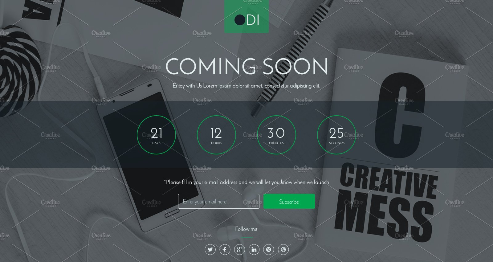 ODI Coming soon html template ~ HTML/CSS Themes ~ Creative Market