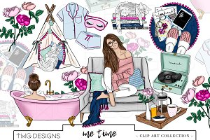 Fashion Girl Bath Spa Clip Art