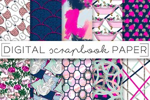 Navy Pink Spa Time Digital Paper