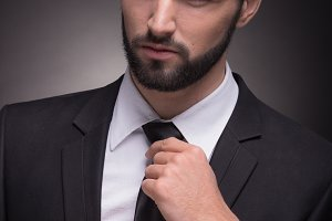 handsome suit closeup head face man