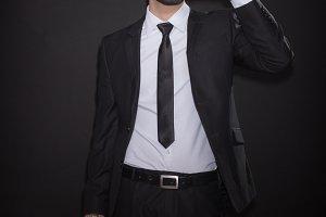 drinking glass man suit bottle black