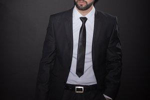 handsome suit bottle wine man