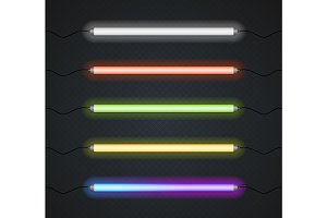 Color Neon Line Lamp Set. Vector