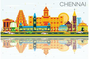 Chennai Skyline with Color Landmarks