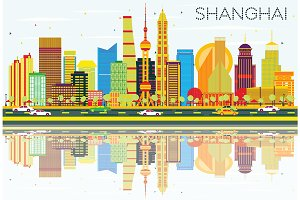 Abstract Shanghai Skyline