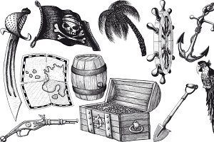 pirate set with treasure
