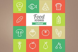 Outlined food icons