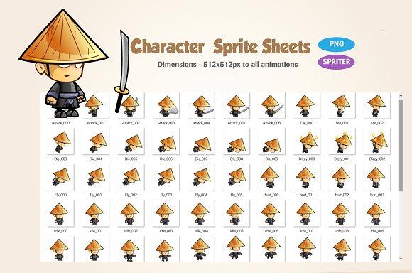 samurai 2d game character sprites illustrations creative market