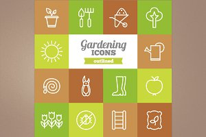 Outlined gardening icons