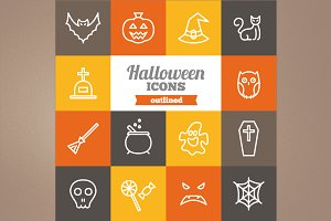 Outlined Halloween icons