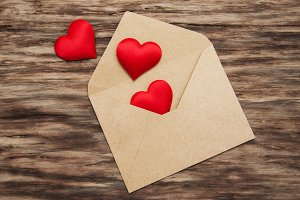 Envelope with red fabric hearts