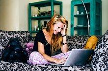 Girl student learning for leptop