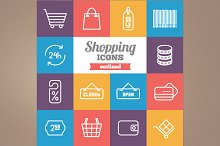 Outlined shopping icons