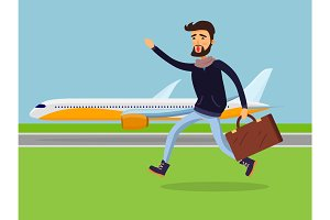 Man with Suitcase Running to Passenger Plane.