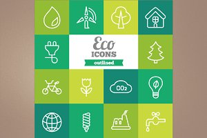 Outlined eco icons