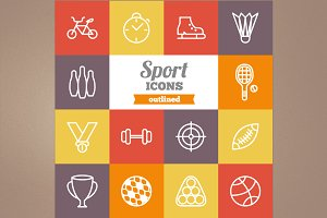 Outlined sport icons