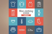 Outlined man clothing icons