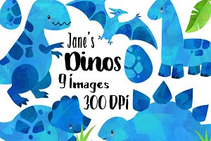 Watercolor Blue Dinosaurs Clipart