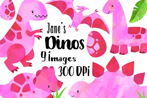 Watercolor Pink Dinosaurs Clipart