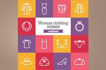 Outlined woman clothing icons