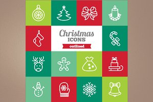 Outlined Christmas icons