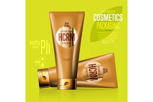 Realistic cosmetic suntan cream golden container
