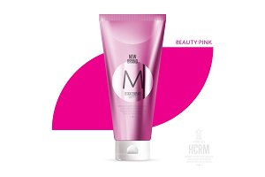 Realistic cosmetic shower gel pink container