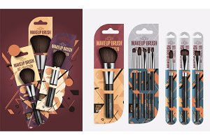 Realistic professional makeup artist brush set