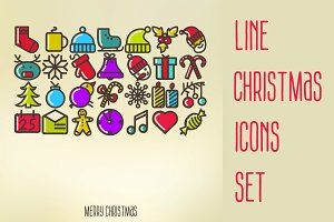 Line Christmas Icons Set