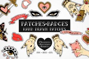 Dark love. Hand drawn patches kit