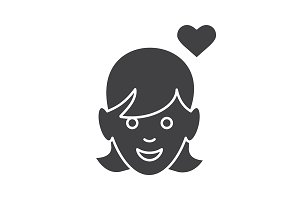 Enamored girl icon. Vector