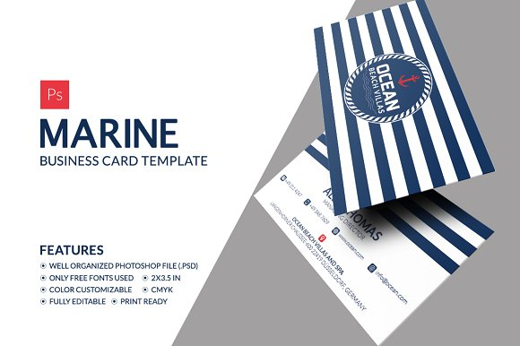 Marine business card business card templates creative market reheart Gallery