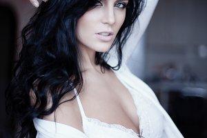 Sexy lady in white underwear
