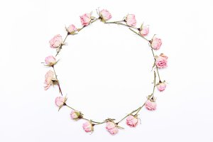 round frame of pink  flowers