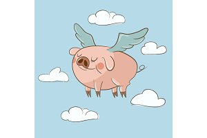 Cute little pig flying in the clouds