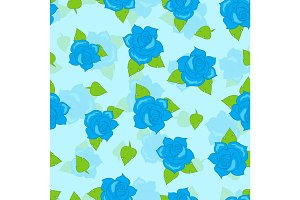 Blue Rose with Green Leaf Seamless Pattern Vector