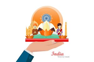 India Travelling Banner. Indian Landmarks on hand