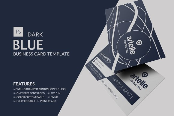 Dark blue business card business card templates creative market accmission Images