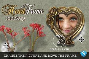 Gold & Silver Heart Frame Mockup
