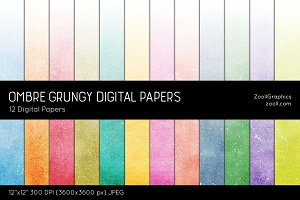 Ombre Grungy Digital Papers