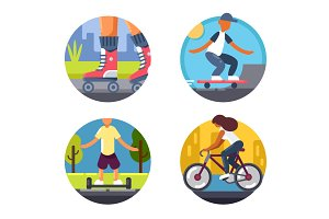 Bicycles or roller skate icons