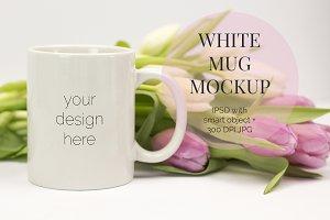 White Mug w Tulips PSD Mockup