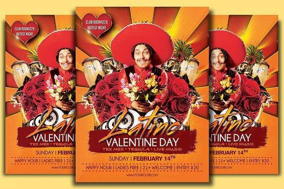 Latino Valentine Day Flyer Template Flyer Templates Creative Market