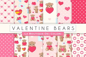 Velentine's Teddy Bear Digital Paper