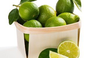 Lime fruits in a box.